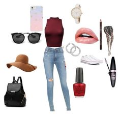 """""""Day out"""" by mandieluver on Polyvore featuring Hudson Jeans, Converse, OPI, Maybelline, Sonix and Prada"""