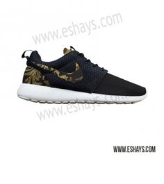 newest 48f13 a624a Custom Roshes- Black Gold Floral Nike Roshe Runs - Women, Men, Kids