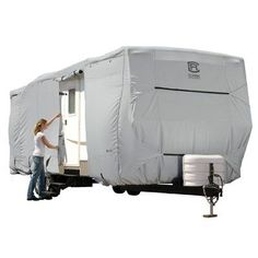 Classic Accessories OverDrive PermaPRO Deluxe Travel Trailer Cover, Fits - RVs - Lightweight Ripstop and Water Repellent RV Cover Size: Travel Trailers - 124 inchH (Model Gray Camping 3, Camping World, Camping Hacks, Luxury Camping, Camping Supplies, Florida Camping, Camping Cabins, Camping Kitchen, Camping Style