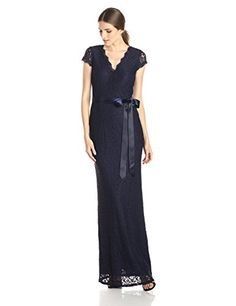 Adrianna Papell Navy Lace Mermaid Gown - http://www.womansindex.com/adrianna-papell-navy-lace-mermaid-gown/