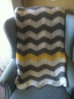 white, gray chevron crochet blanket with yellow stripe