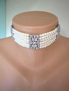 Great Gatsby Jewelry Pearl And Rhinestone Choker by CrystalPearl