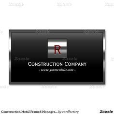 Construction Metal Framed Monogram Professional Standard Business Card