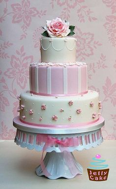 Very cute pink and white cake