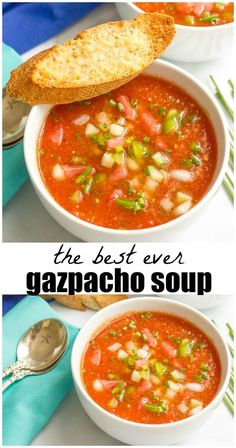 Easy tomato gazpacho soup is a summer must! This cold summer soup recipe is loaded with fresh veggies and lots of topping and serving ideas! Easy tomato gazpacho - Easy tomato gazpacho soup - a cold summer soup recipe with plenty of fresh… Chili Recipes, Vegetarian Recipes, Cooking Recipes, Healthy Recipes, Healthy Gazpacho Recipe, Dishes Recipes, Watermelon Gazpacho Recipe, Easy Recipes, Dinner Ideas