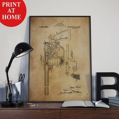 Automatic Pistol Patent Art Print-Gun Poster-Patent Prints-Patent Poster-Printable Wall Art-Man Cave Decor-Boyfriend Gift-Husband Gift Men