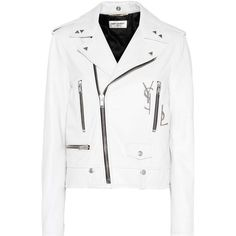 Saint Laurent Leather Biker Jacket ($5,170) ❤ liked on Polyvore featuring outerwear, jackets, white, genuine leather biker jacket, white motorcycle jacket, motorcycle jacket, white moto jacket and 100 leather jacket