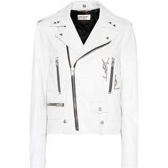 Saint Laurent Leather Biker Jacket ($4,695) ❤ liked on Polyvore featuring outerwear, jackets, coats, coats & jackets, white, motorcycle jacket, moto jacket, leather moto jackets, yves saint laurent jacket and genuine leather biker jacket