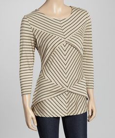 Another great find on #zulily! Khaki & Black Stripe Tiered Three-Quarter Sleeve Top by Allie & Rob #zulilyfinds