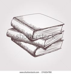 drawings of books | Vector sketch of books stack - stock vector