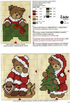 ♥ Mon point Graphiques Cruz ♥: Noël avec des oursons en point de croix