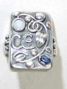 Jugendstil ring. Silver, spphire and opal. Stamped 'Handarbeit'. Sold on eBay. View 2.