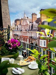 Room with a view: Breakfast on the balcony LEVIN HOTEL KNIGHTSBRIDGE, LONDON SW1  Great location in the heart of Knightsbridge, right near Harrods.