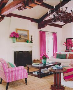 pink accent living room - House of Turquoise House Design, Pink Living Room, Pink Curtains, Chic Living Room, Interior, Home Decor, House Interior, Interior Design, Glamorous Interiors