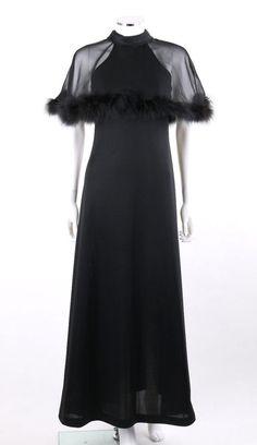 Vtg c.1960's - 1970's Black Halter Gown Dress w/ Feathered Caplet