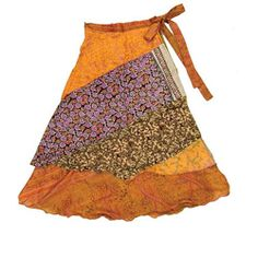 Silk Patchwork Reversible 3/4 Layered Skirt (India) | Overstock.com Shopping - Great Deals on Women's Clothing