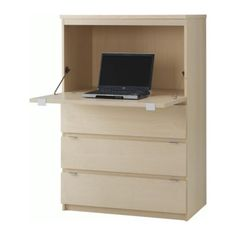 IKEA Jonas Secretary desk - hackable interior - you will need to add lighting inside it - big space to put a big mess - best feature is three huge drawers to organize for bills, or other work desk materials. Love it so much.