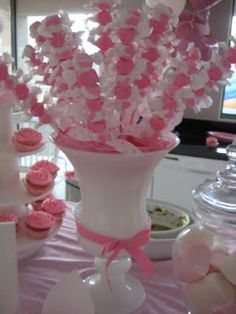 taffy skewers Change the colors to go with the party. Great idea..these are great to add height to the table..Fun!