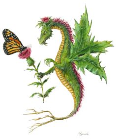 """""""Dragon art""""""""Flower Dragon"""" A Thistle Dragon gives a Thistle flower to a Monarch Butterfly"""