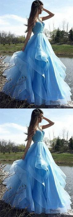 elegant sweetheart light blue tulle prom dress with beading, fashion a-line ruffles light blue evening dress with sash Puffy Prom Dresses, Best Prom Dresses, Blue Evening Dresses, Tulle Prom Dress, Sexy Dresses, Formal Dresses, Pretty Dresses, Beautiful Dresses, Casual Outfits