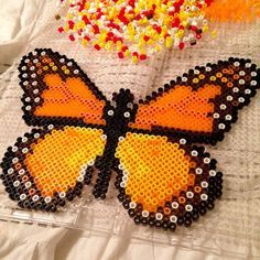 perler bead monarch butterfly - Google Search