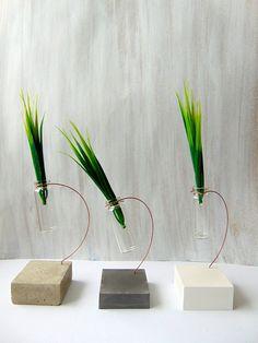Concrete Vаse Mini bottle Vase Hanging Glass vase Geometric