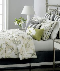 Grey and green -- love it for the guest room! Change duvet print and some accent pillows, add pop of color!