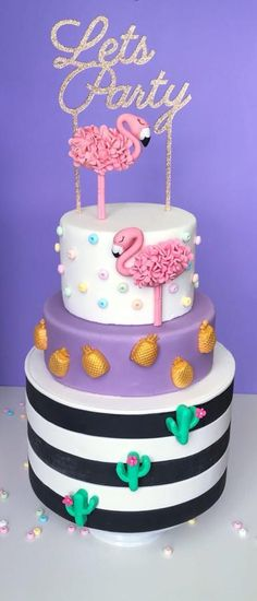 Flamingo Party Cake - cake by Monique Ascanelli