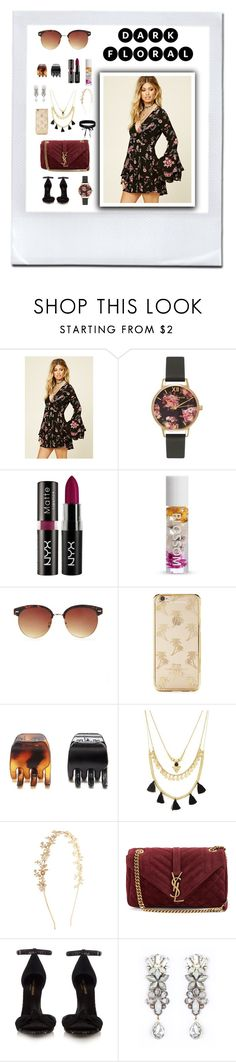 """""""Dark floral"""" by anna-styles14 ❤ liked on Polyvore featuring Forever 21, Olivia Burton, Yves Saint Laurent, Tataborello and Boohoo"""