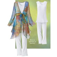 Watercolor Tunic  The subtle colors of this cloud-light tunic melt into each other like the hues of a watercolor. With slit sleeves and knotted tie at the bodice, it's perfect over dresses or with our Cotton Pants Set