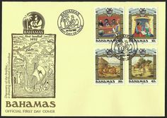 Bahamas First Day Cover Scott #640-43 (24 Feb 1988) Set of four stamps showing King Ferdinand and Queen Isabella, Christopher Columbus (Cristóbal Colón) before the Talavera Committee, Lucayan village and Lucayan potters.  Cover cachet: Early map of the Antilles. Stamps tied to cover with a pictorial cancellation of a ship and date of issue.
