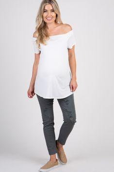 fa96715008c87 Charcoal Grey Distressed Skinny Maternity Jean Maternity Skinny Jeans,  Blush Pink, Charcoal, Winter