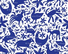 Mexico Springtime: Cobalt on White (Large Scale) fabric by sammyk on Spoonflower - custom fabric. A lot cheaper here than actual Otomi fabric panels :) Et Wallpaper, Custom Wallpaper, Fabric Wallpaper, Wallpaper Ideas, Temporary Wallpaper, Green Pillows, Throw Pillows, Throw Rugs, Elements Of Style