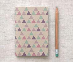 Eco Friendly Mini Notebook, Brown Sketchbook - Geometric Patterns, Purple, Green, Pink Triangles
