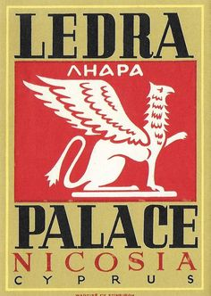 Vintage Mid Century Luggage Travel Sticker - Ledra Palace - Nicosia, Cyprus by 20thCenturyCool on Etsy