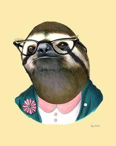 Sloth Lady art print by Ryan Berkley 8x10 by berkleyillustration, $18.00