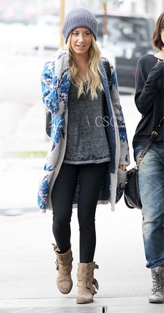 #AshleyTisdale was spotted this morning wearing head to toe Free People including the cozy Free People Flower Yarn Cardigan as she arrived at Urth Caffe in West Hollywood, CA February 5, 2013    #CelebrityStyleGuide