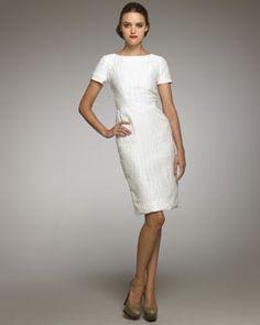 Carolina Herrera Croc-Textured Sheath Dress