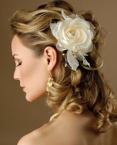 wedding hairstyles for medium curly hair | Wedding Hairstyle with Flowers