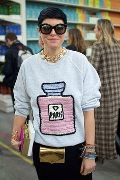 PFW A/W '14, Elisa Nalin at Chanel | great idea and way to embellish plain sweatshirt