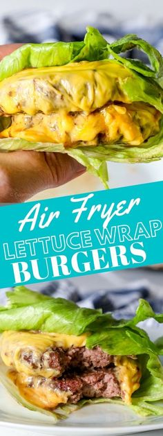 The BEST #keto burgers - tender, juicy, and full of flavor from an Air Fryer! Baked Ranch Chicken, Baked Chicken Wings, Chicken Wing Recipes, Lettuce Wrapped Burger, Lettuce Wraps, Roast Recipes, Pork Chop Recipes, Broiled Lobster Tails Recipe, Easy Baked Pork Chops