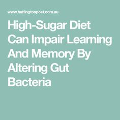 High-Sugar Diet Can Impair Learning And Memory By Altering Gut Bacteria