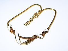 New Listings Daily - Follow Us for UpDates -  Description & Style:  Monet Signed Necklace - White Enamel Twisted Metal  Pendant Draped on Gold Tone Chain1 3/4 Modern #Vintage 1980s 1990s Choker Princess Length offered b... #vintage #jewelry #teamlove #etsyretwt #ecochic #thejewelseeker