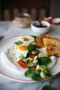 a savory yogurt + egg breakfast salad situation
