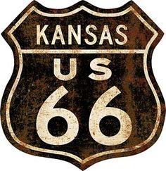 23275. -  ROADSIDE - ROUTE 66 - US - - KANSAS - Sign - Formato do emblema -  29x30-