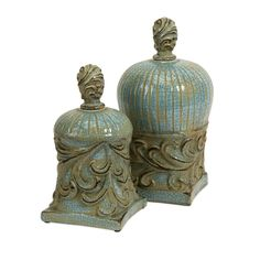 Rios Lidded Boxes - Set of 2 - Cool blue tone highlights this set of two ceramic boxes inspired by architecture of ancient Rios, Greece. IMAX exclusive!