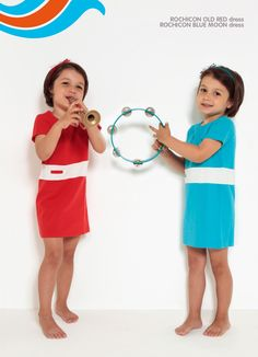 Red & Blue Ropicon dresses with short sleeves - Dis Une Couleur