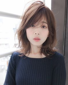 soft layered look Medium Hair Styles, Natural Hair Styles, Short Hair Styles, Middle Hair, Brown Hair Shades, Hair Arrange, Girl Haircuts, Asian Hair, Undercut Hairstyles