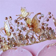 Butterfly Wedding Crown Crystals Pearl Coffee Headband Hair Accessories Jewelry #Crown