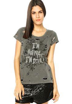 Camiseta Lança Perfume Destroyed Cinza - Compre Agora   Dafiti Brasil